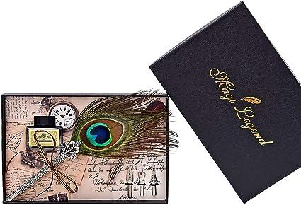 Keshida - Pluma estilográfica vintage hecha a mano con plumas de pavo real y tinta para escribir (3 puntas), con caja de regalo: Amazon.es: Oficina y papelería