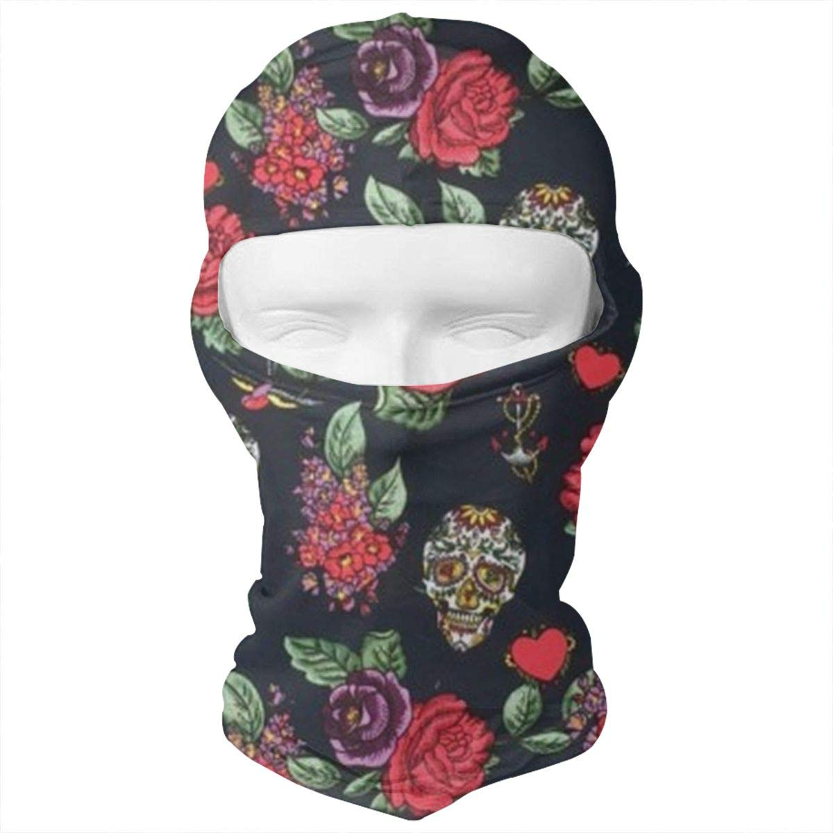 J.C Realm Balaclava Face Mask, Tactical Balaclava Hood, Cap, Scarf, Pirate Hat, Neck Gaiter, Dust Mask, Seamless Headwear, Sugar Skulls Roses Love Hearts