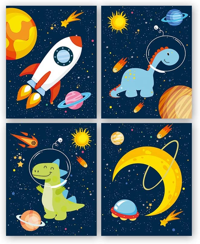 Dinosaur Outer Space Art Print, Solar System Planet Canvas Poster,Set Of 4 (8X10inch,Unframed) Animal Astronaut Wall Art For Kid Room Decor