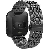 para Fitbit Versa Band-Longtis Pulsera de Acero Inoxidable Genuino Banda Correa de Repuesto para Fitbit Versa Reloj Inteligente