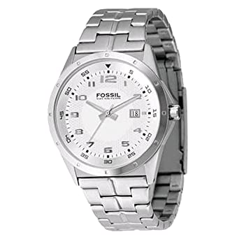 Fossil Mens AM4102 Stainless Steel Bracelet Silver Analog Dial Watch