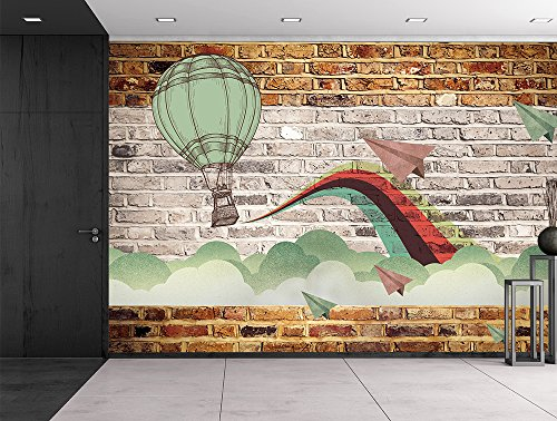 Wall26 - Faux brick wall pattern with painted mural - Whimsical hot air baloon and paper airplanes design breaking through clouds - Wall Mural, Removable Sticker, Home Decor - 66x96 (Air Brick)