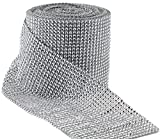 Aeroway Silver Diamond Rhinestone Ribbon Wrap Bulk 30 Feet - Wedding Decorations, Party Supplies