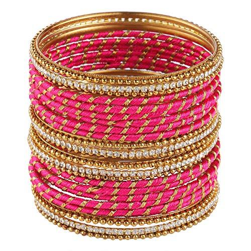 Efulgenz Fashion Jewelry Indian Bollywood Gold Plated Crystal Stone Beaded Pink Silk Thread Bracelet Bangle Set (24 pc)