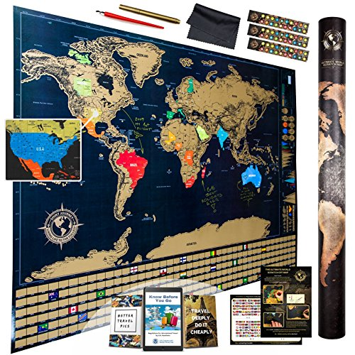 Ultimate scratch off world map with glossy finish flags infographics your personalized map of the world scratch off the places you have visited from amongst 252 countries and regions us states are outlined gumiabroncs