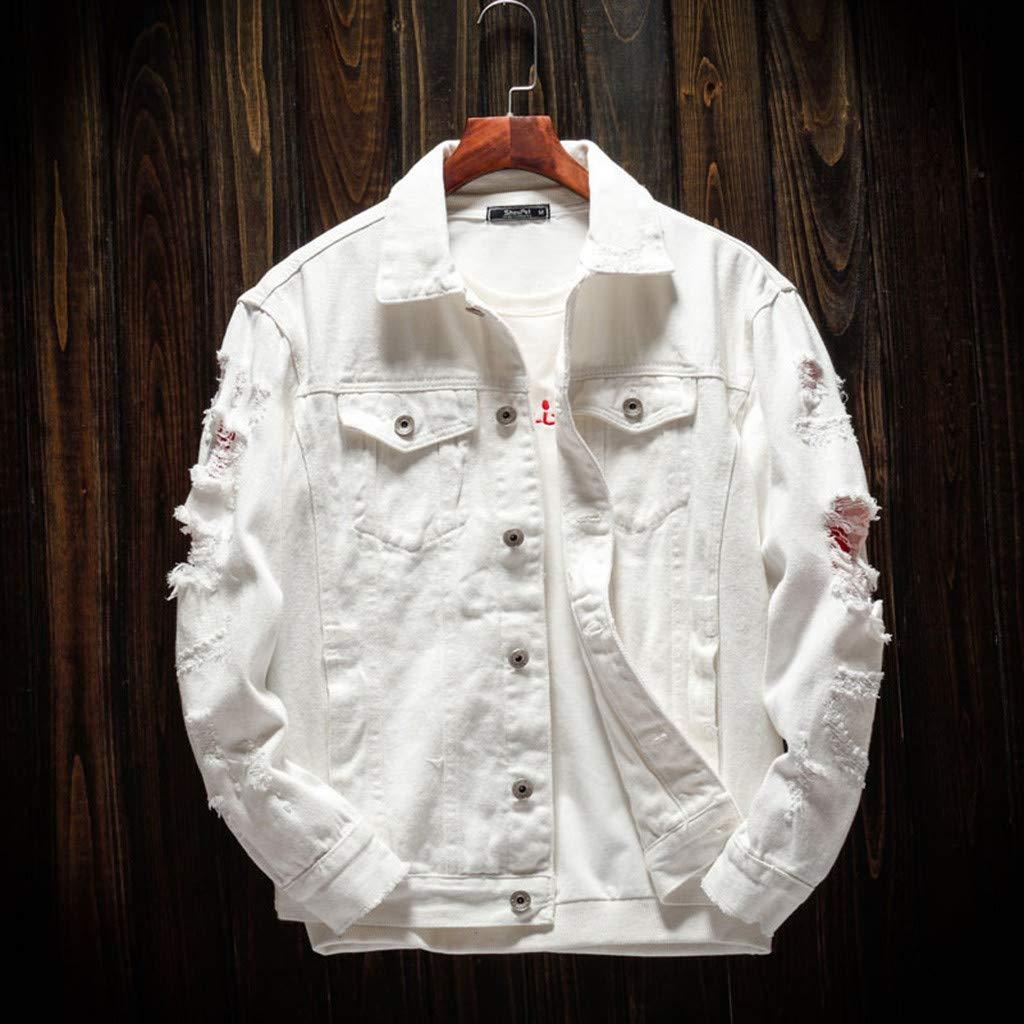 Ultramall Long Sleeve Men's Long Sleeve Autumn Winter Casual Turn-Down Collar Denim Jacket Coat by Ultramall (Image #2)