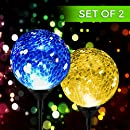 Solar Powered Crackle Glass Ball- Color Changing Stake Lights- Set Of 2- 100% Weatherproof Design- Decorative Landscape Lamps- Wireless Outdoor LED Accent Lighting- Best Decor for Garden/ Yard/ Path
