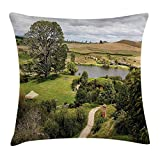 Queen Area Hobbits Overhill Matamata New Zealand Movie Hobbit Land Village Movie Square Throw Pillow Covers Cushion Case for Sofa Bedroom Car 18x18 Inch, Green Brown