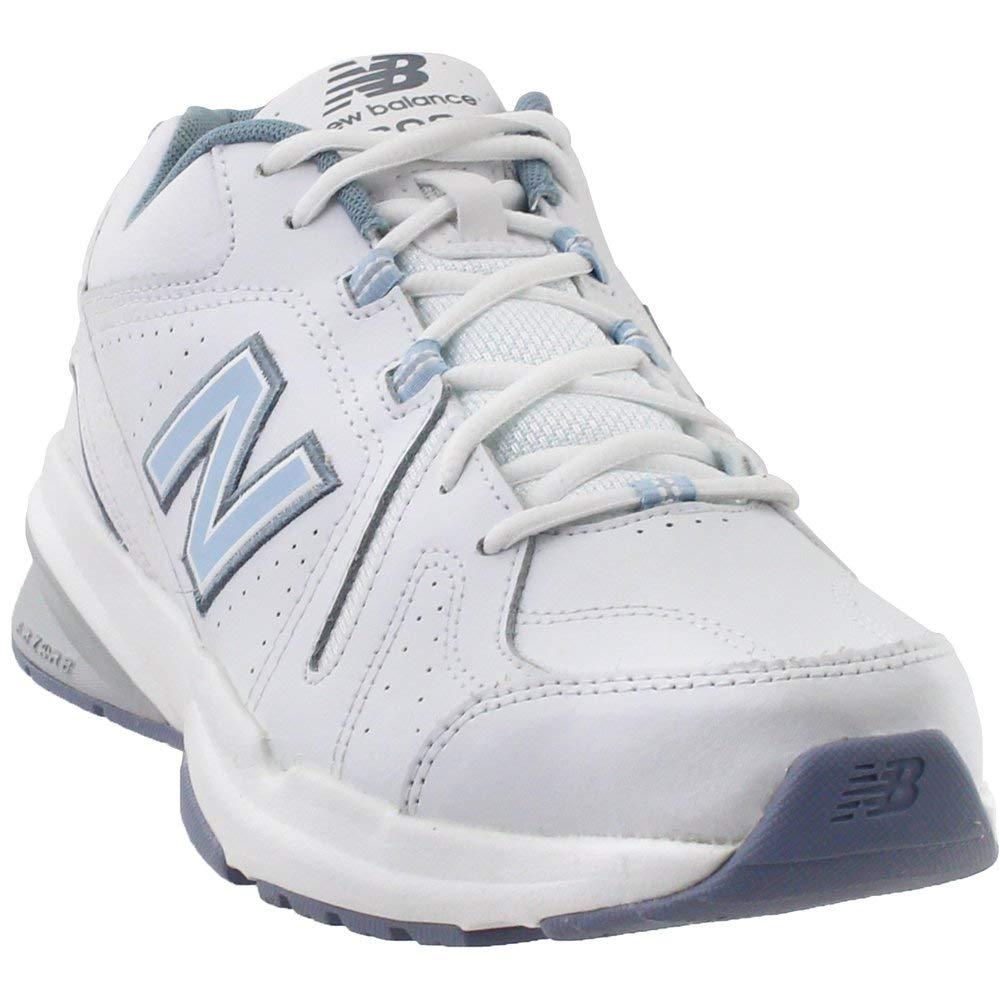New Balance Women's 608v5 Casual Comfort Cross Trainer, White/Light Blue, 5.5 B US