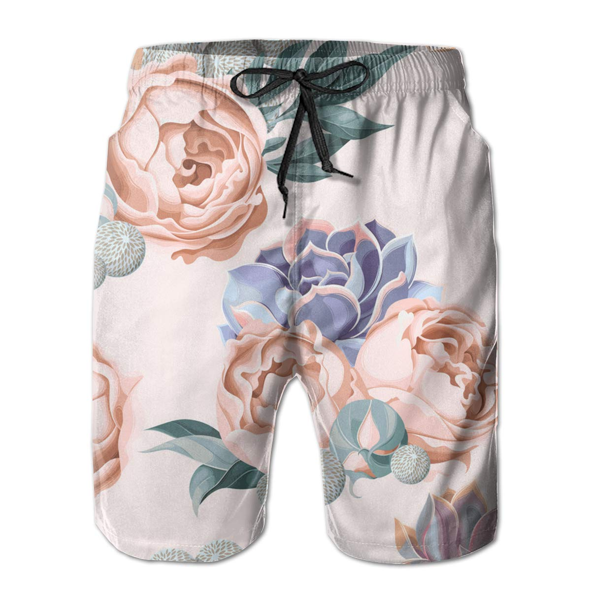 SARA NELL Mens Swim Trunks Succulent and Peony Roses Surfing Beach Board Shorts Swimwear