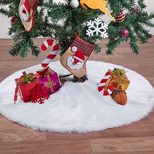 MACTING Luxury Faux Fur Christmas Tree Skirt Soft Snow White Tree Mat Christmas Decorations Xmas Holiday Tree Skirts (35 Inch)