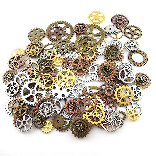 (200 Gram Antique Steampunk Gear,Mix Steampunk Wheel,Alloy Gear Pendants Charms for Crafting,Jewelry Making)