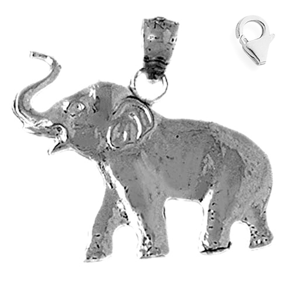 Jewels Obsession Elephant Pendant Sterling Silver 23mm Elephant with 7.5 Charm Bracelet