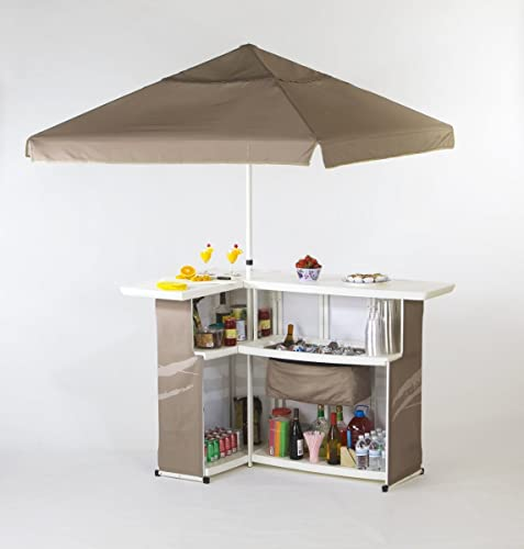 Best of Times 2001W1325 Pink Solid Portable Bar and 8 ft Tall Square Umbrella
