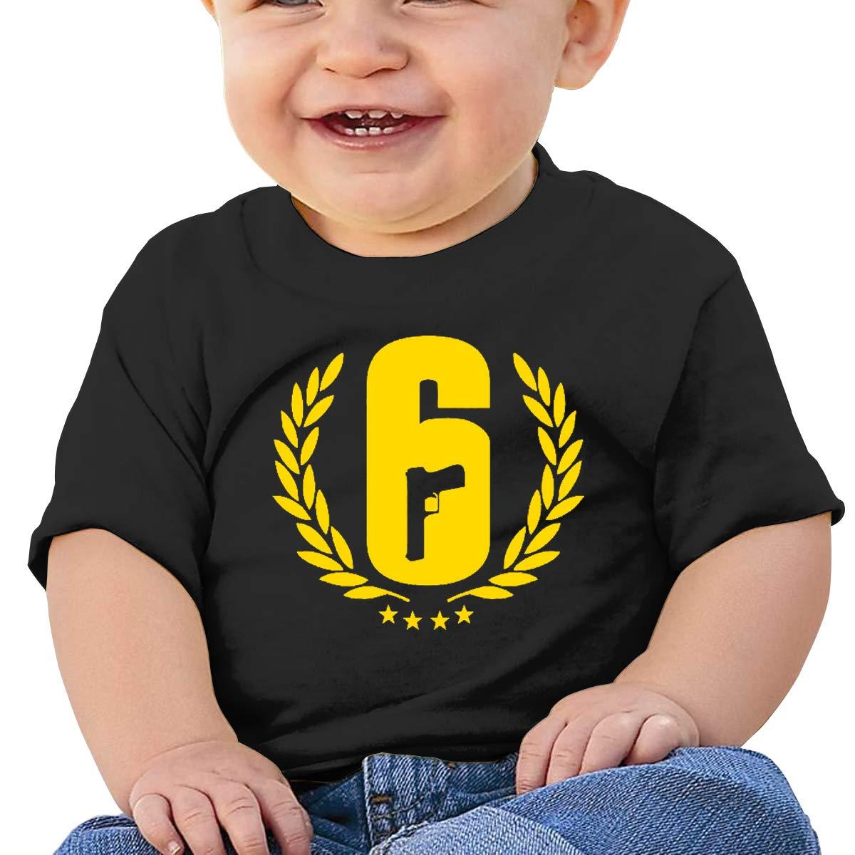 Toddler Kids Organic Cotton Graphic Tee Tops MONIKAL Unisex Infant Short Sleeve T-Shirt Rainbow-Six-Siege