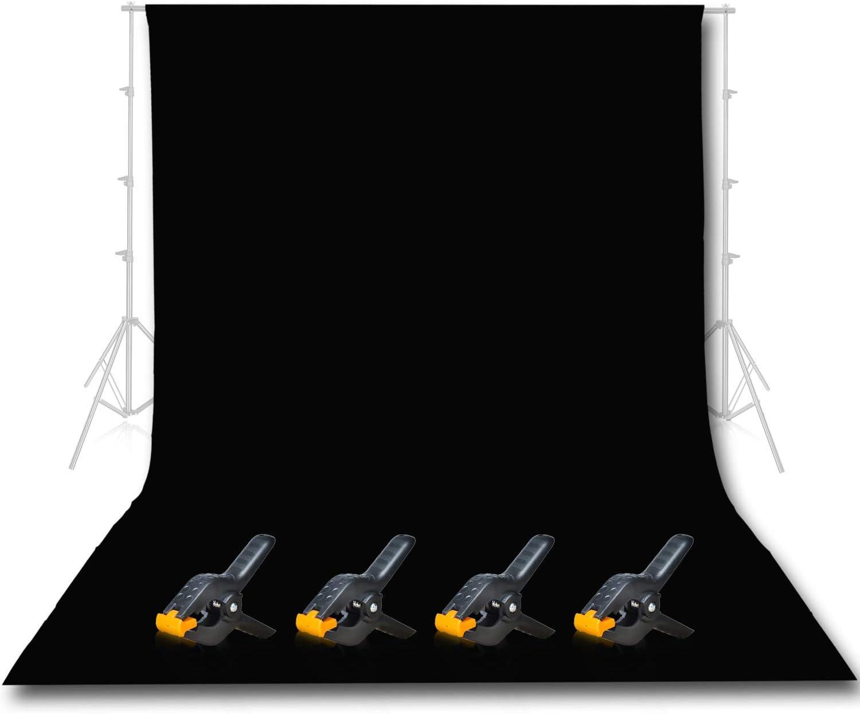 Emart Photo Studio 10 x 12ft Black Backdrop Screen, Seamless Chromakey Backdrop Muslin Background Screen for Photography
