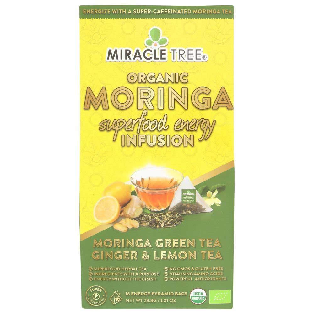 Miracle Tree Organic Green Tea Ginger and Lemon Tea Moringa Superfood Energy Infusion - 16 count per pack -- 5 packs per case.