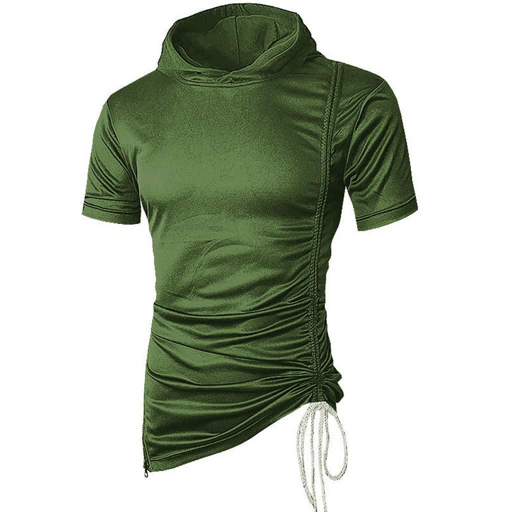 Mens Casual Hipster Hip Hop Short Sleeve Longline Pullover Hoodies Side Zipper Shirts Summer Green