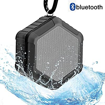 CAMTOA Outdoor Waterproof Bluetooth Shower Speaker,Mini Portable Wireless Speaker - Sport Shower Stereo Speakers NFC Handsfree for Smart Phones Black