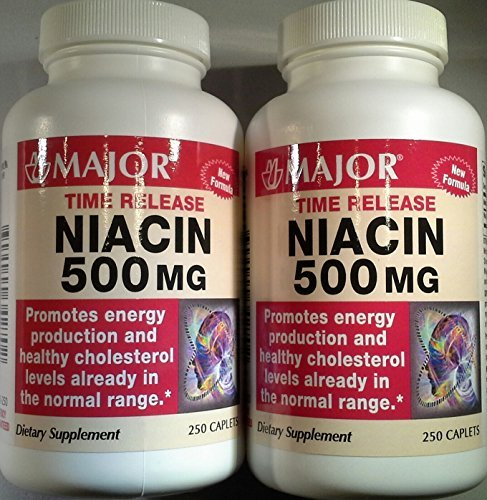 [2 Pack] Niacin Time Release 500mg 250 Ct Captabs (Pack of 2 = 500 Tablets)