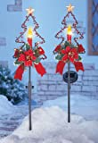 Solar Christmas Candle Garden Stakes - Set of 2