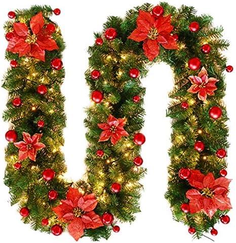 Addobbi Natalizi Amazon.Fervory 2 7m Ghirlanda Di Abete Di Natale Addobbi Natalizi Camino Ornamento Dell Albero Di Natale Crittografato Rattan Di Natale Rosso Con Luci A Led Appese Amazon It Casa E Cucina