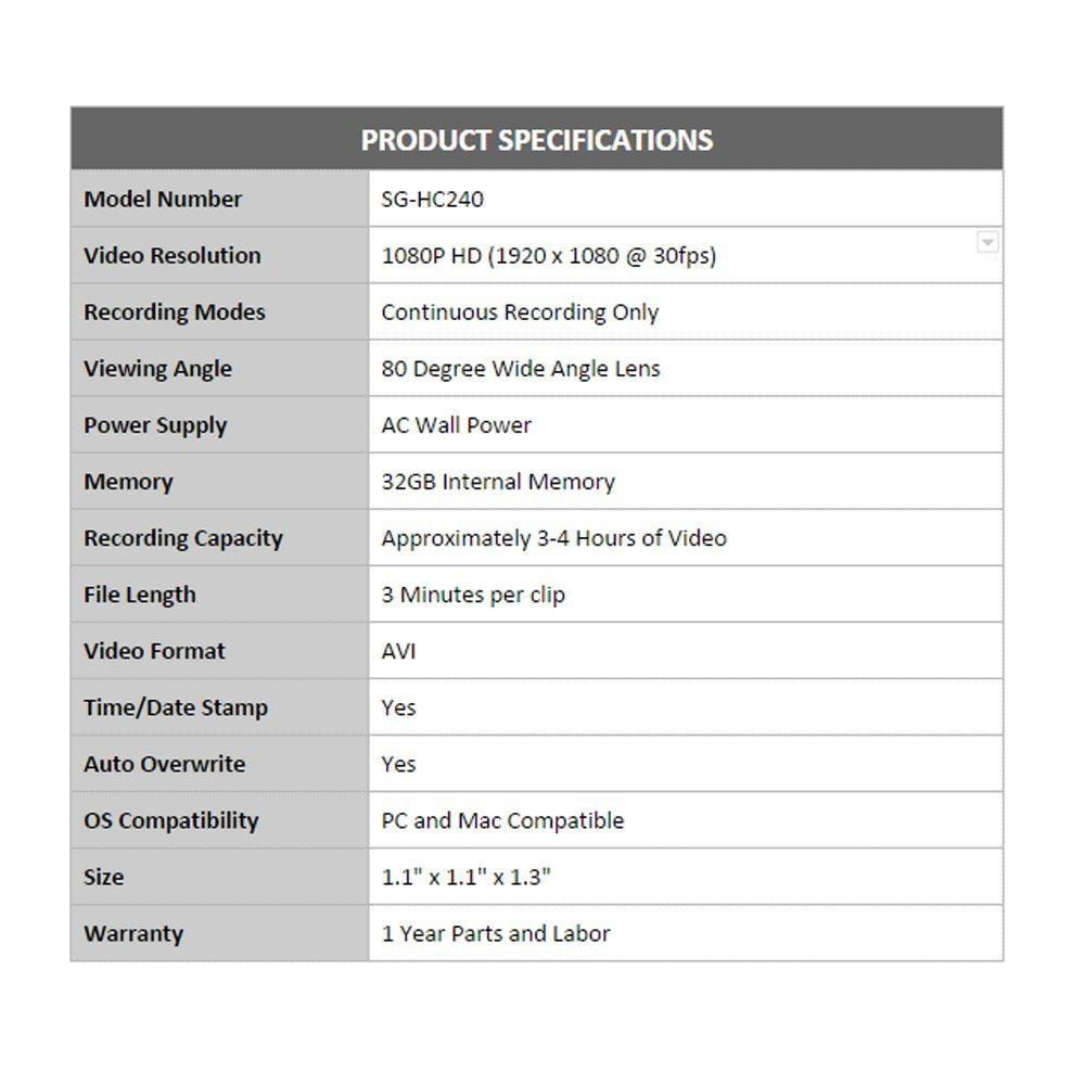 SpygearGadgets® 1080P HD Mini USB Wall Charger Hidden Spy Camera / Nanny Cam   32GB Internal Memory   1 Year Warranty (Model SG-HC240)