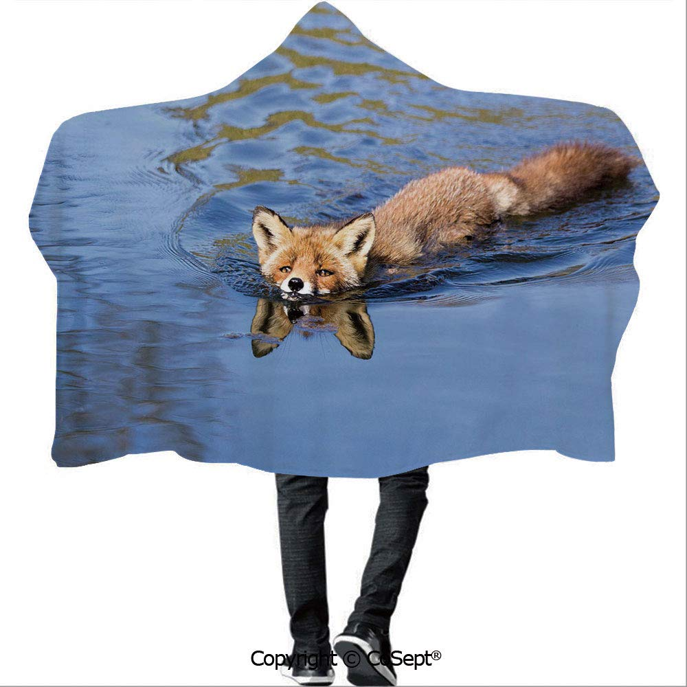Wearable Hooded Blanket,Cute Fox Swimming in Blue River Natural Life Mammal Wild Animal Image Print,Warm Cozy Throw Blanket (59.05x78.74 inch),Light Blue Brown Cream