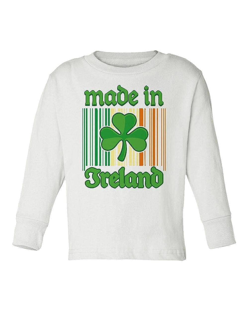 Societee Made in Ireland Barcode Clover St Patricks Day Girls Boys Toddler Long Sleeve T-Shirt