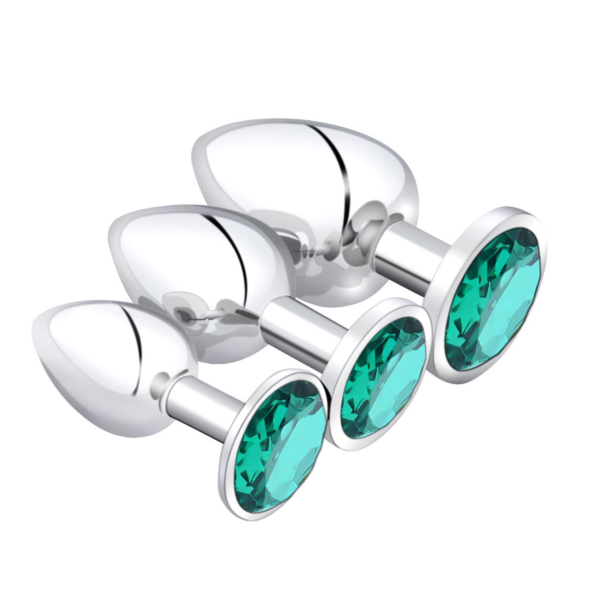 YiFeng 3 Pieces Jeweled Butt Plug, Stainless Steel Anal Plugs Kit Sex Stimulation Toy for Beginners Couples (Green)