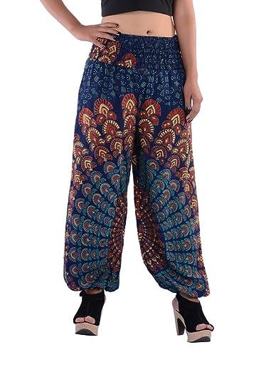 Indi Bargain Rayon Jaipur Sanganeri Rajasthani Mandala Hand Block Printed Harem Trouser (Stretchable - Medium to XL Fit) Women's Churidar & Salwar Bottoms at amazon