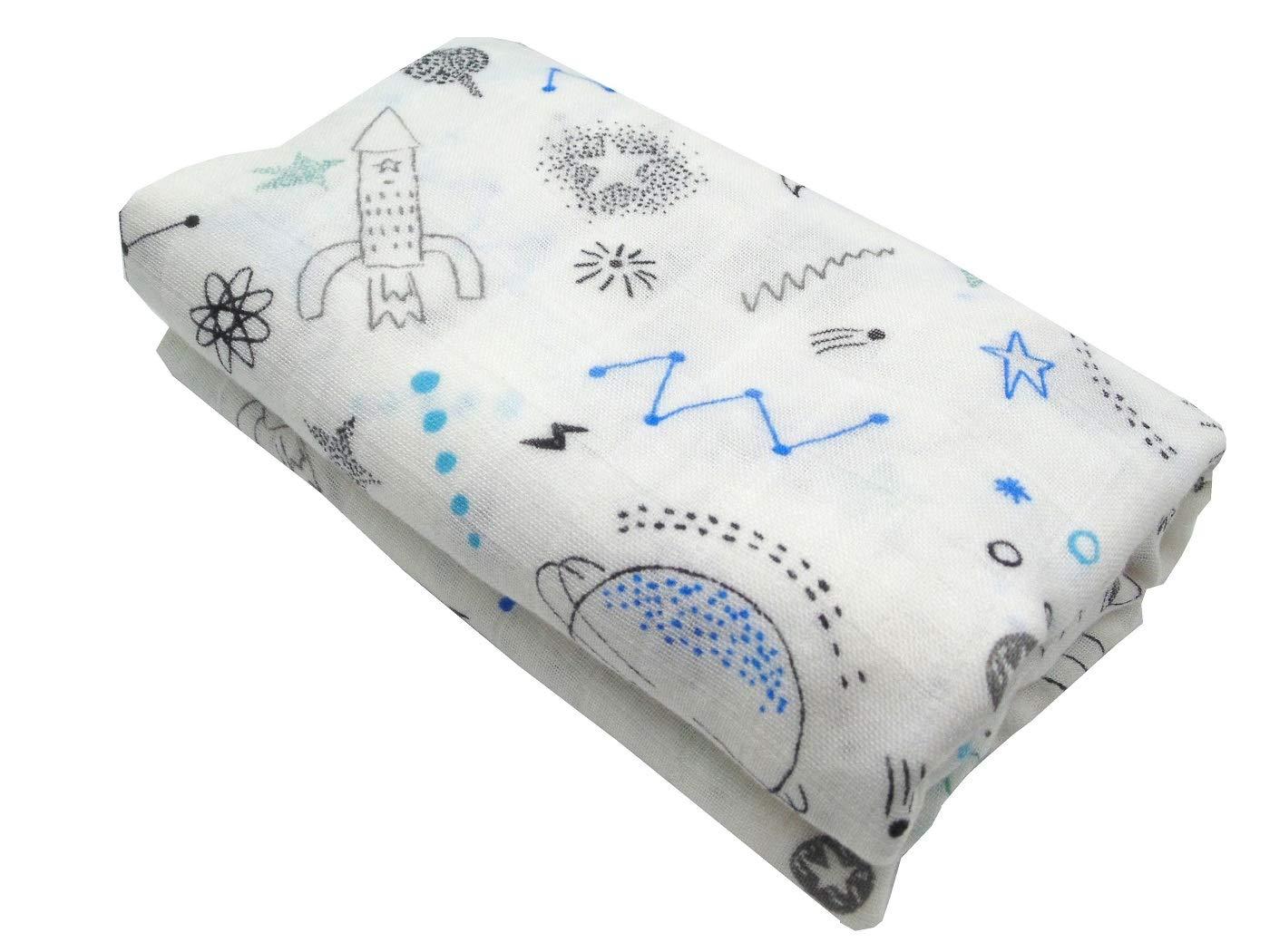 HGHG Bamboo Muslin Baby Blankets Bedding Infant Swaddle Towel Multifunctional Envelopes Baby Dinosaur Print 47x47