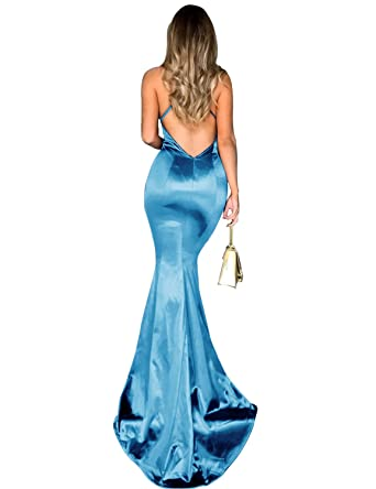 a199b45420 YIRENWANSHA Sexy Mermaid Long Satin Evening Party Dress Spaghetti Strap Prom  Dresses for Women 2018 Cocktail