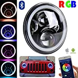 OVOTOR Pair 7inch Black Jeep RGB Halo LED Headlights Kit 50W with Bluetooth Remote Angel Eyes for Jeep Wrangler JK LJ