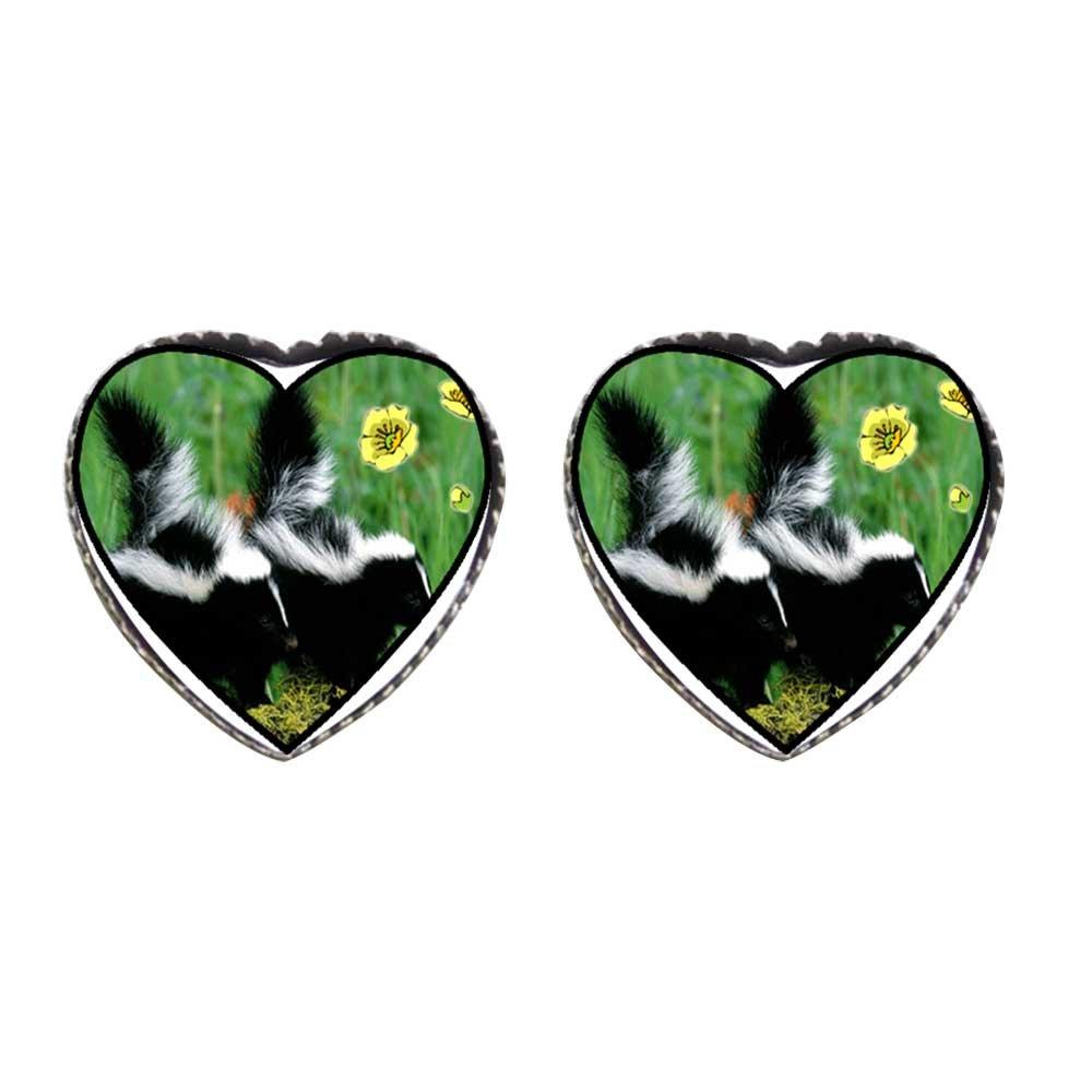 GiftJewelryShop Bronze Retro Style Wildlife Skunk Photo Stud Heart Earrings #12