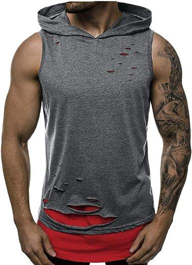 Camisetas de Tirantes para Hombre Camisas Hoyo Entrenamiento Chaleco Deportivo con Capucha Sin Mangas Color a Juego Gimnasio Sudadera con Capucha: Amazon.es: Ropa y accesorios