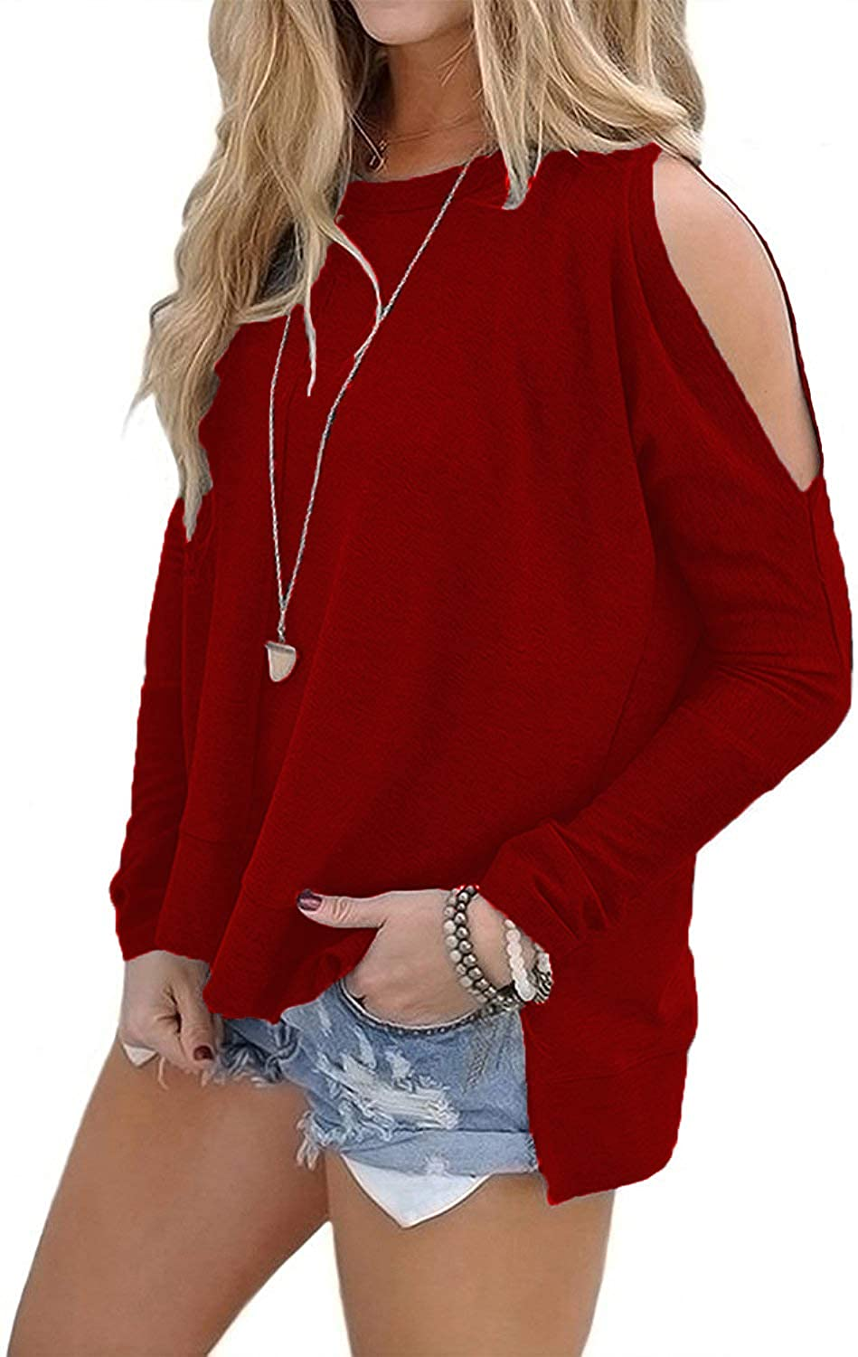 49a3d901eb0464 BLUETIME Women s Cold Shoulder Tops High Low T Shirts Side Slits Long  Sleeve Sweatshirt at Amazon Women s Clothing store