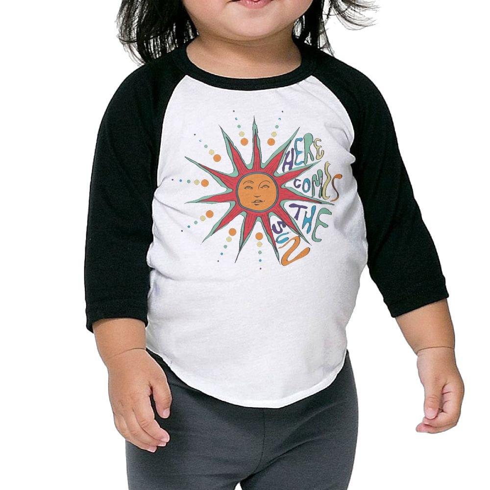 446b36c99432 Amazon.com  Wons Kid H-Here Comes The Sun 2 Slim Kindergarten Black Cute T  Shirts Crew Neck 1 2 Sleeve Raglan T-Shirt  Clothing