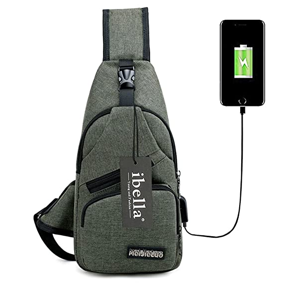596bc75324dc Sling Bag with USB Charging Port Crossbody Canvas Chest Bag for Men Women  Lightweight Hiking Travel Backpack Daypack (Army green)  Amazon.co.uk   Clothing