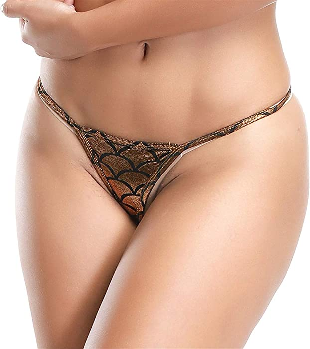 608aa6750 Women s G Strings Sexy Exotic Micro Shiny G String Fish Scale Pattern Thongs