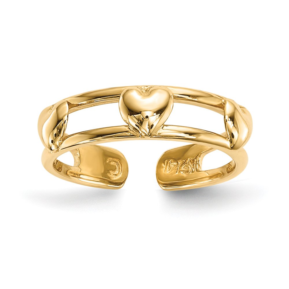 Black Bow Jewelry 14k Yellow Gold 4mm Polished 3-Hearts Toe Ring