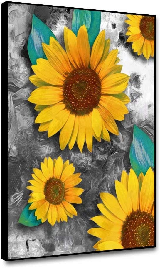 Canessioa 12x16inch Modern Wall Art Framed Canvas Prints Charming Painting Elegant Sunflowers Yellow Flowers Fashion Exquisite Artwork Wall Decor for Living Room Bedroom Office Corridor