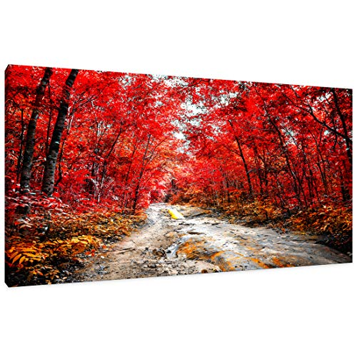 Wall Art for Living Room Simple Life Red Tree Woods Landscape Abstract Painting Office Wall Art Decor Single Pieces Canvas Prints Ready to Hang for Home Decoration Works of Art (Red)