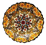 Nazar Turkish Imports ~Hand Painted Ceramic Plate~Yellow 12inch/30cm