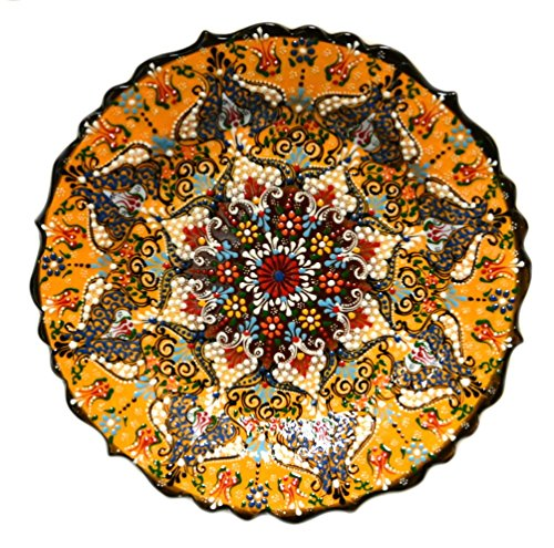 Turkish Ceramics~Hand Painted Ceramic Plate~Orange 12inch/30cm