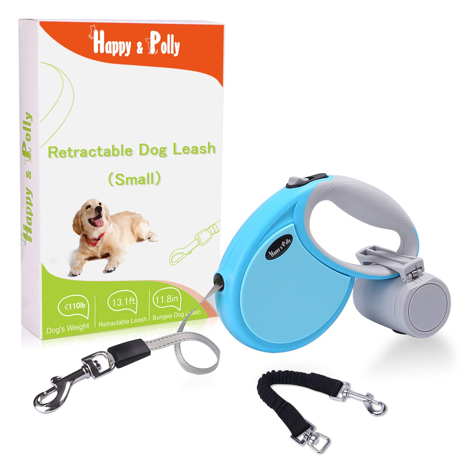 Happy & Polly Retractable Dog Leash Retractable Bungee Dog Leash Anti-Pull Dog Leash Anti-bite Reflective Non-Slip Handle Medium Small Dogs up to 150lbs (Blue-Compact)