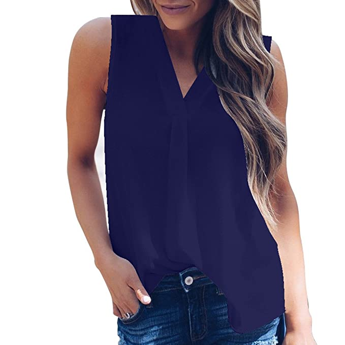 76683eba7a2d Camisetas Sin Mangas Mujeres❤️️Lonshell Tops de Gasa Camisa Blusa para  Mujer Camisolas de Mujeres Señoras de Moda Sexy Verano Color Puro 8 ...