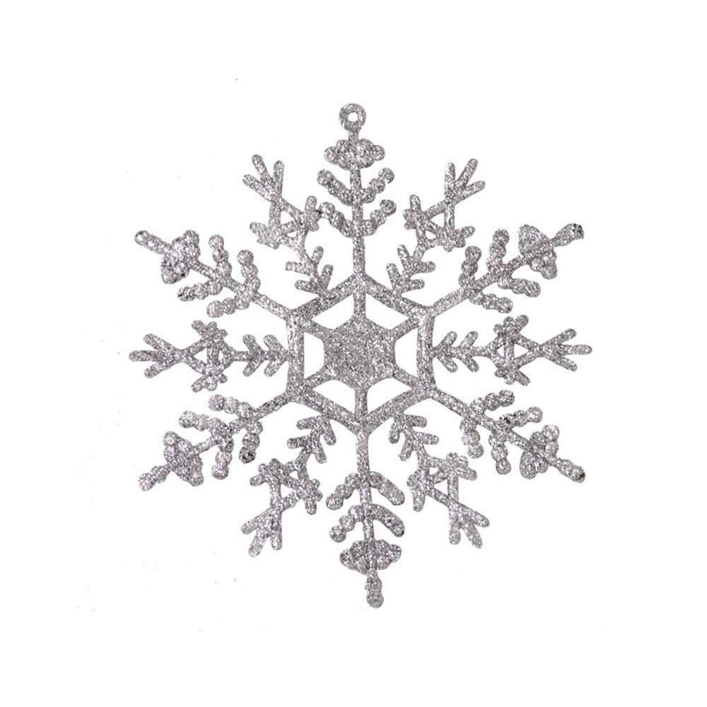 Muhan 3pcs Plastic Christmas Glitter Snowflakes Ornaments Sparkling Iridescent Glitter Snowflake Xmas Decor