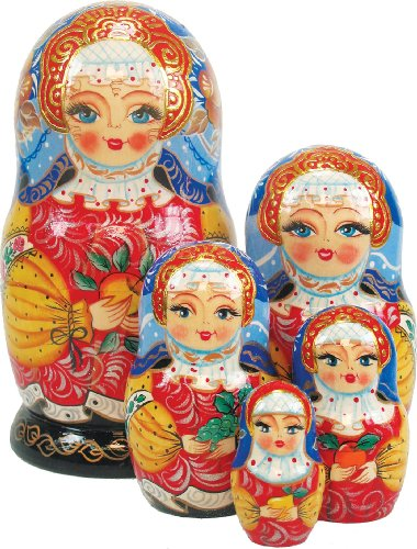 - G. Debrekht Apple Girl Russian Nesting Dolls, Set of 5, Tallest Doll 6-1/2-Inch, Hand-Painted