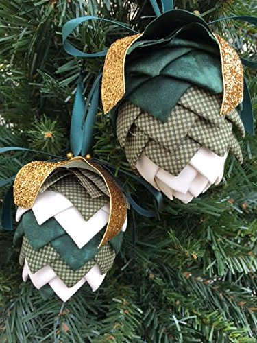No Sew Quilted Pinecone Christmas Ornament Kit Green Cream Colors Folded Fabric Ornament Kit
